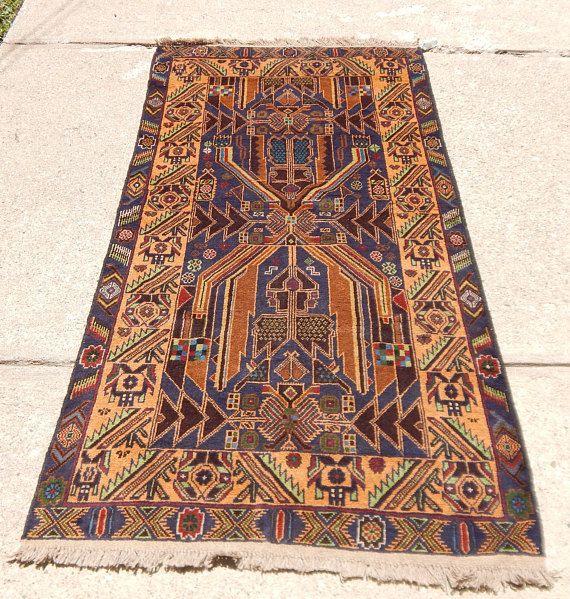 Vintage 1980s Baluch Afghan Tribal Rug Tribal Rug Rugs Tribal Geometric