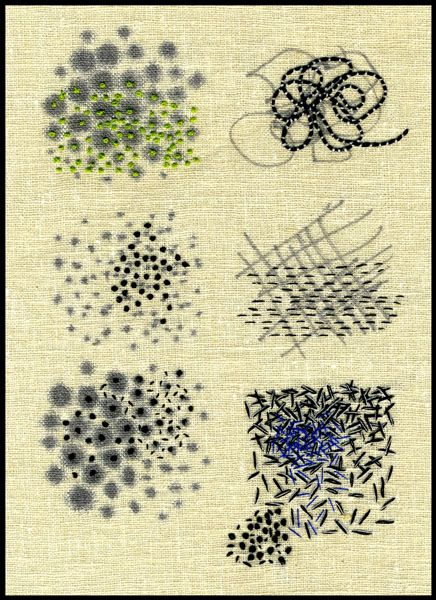 "abstract stitching:   Ilze Aviks ""Density Exercises"" 2005 7"" x 9"" Cotton thread and ink on linen; handstitching Photo: Ilze Aviks"