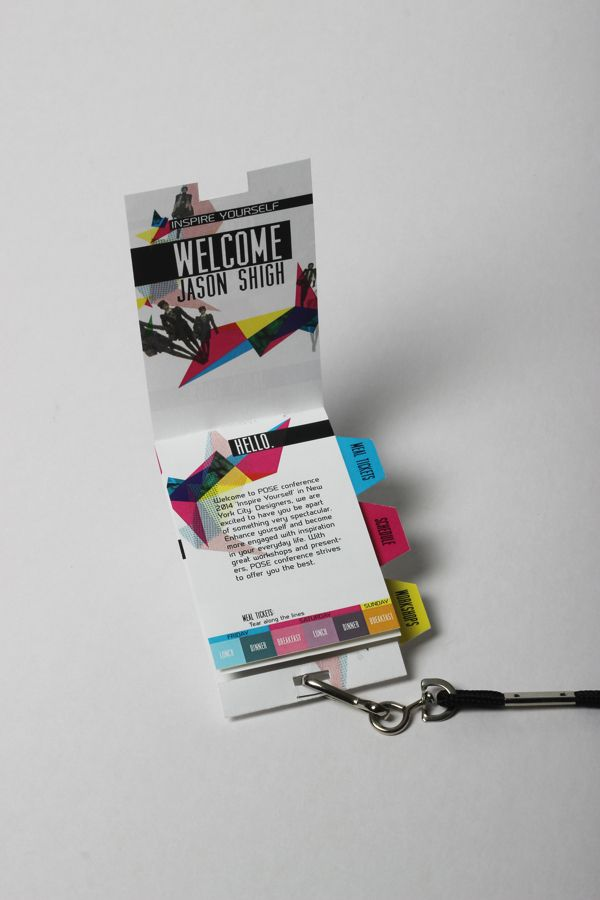 Love the idea of maps and session information cleverly designed to be part of the badge.  POSE Conference by Peter Phung, via Behance