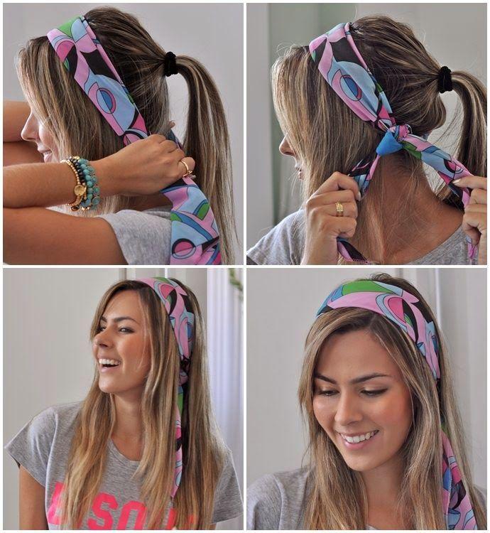 Dicas para quase tudo na vida...: Lenço: um clássico que nunca sai de moda! | para lenços de 2019 | Penteados com faixas de cabelo, Lenço na cabeça e Penteados com bandana