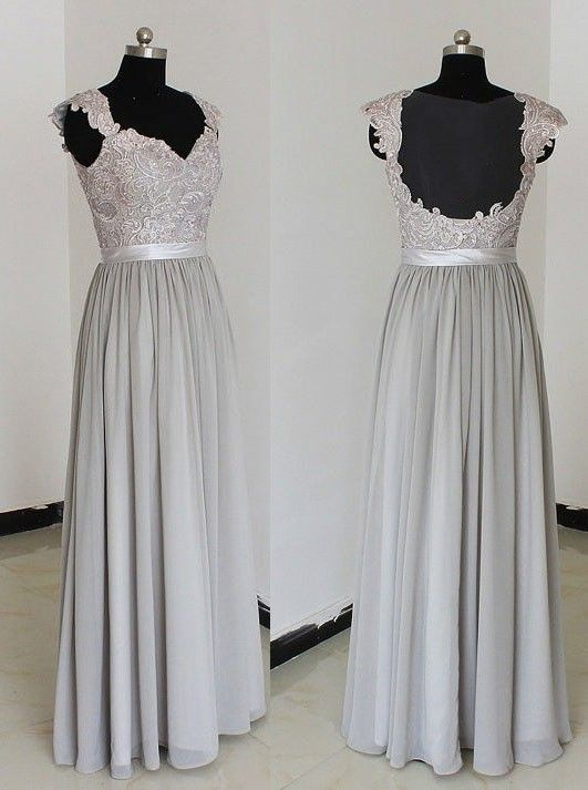 Elegant Sweetheart Floor Length Chiffon Grey Bridesmaid/Prom Dresses With Appliques