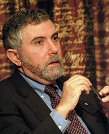 Paul Robin Krugman, né le 28 février 1953 à Long Island dans l'État de New York, est un économiste américain qui a obtenu le « prix Nobel d'économie » 2008 pour avoir montré « les effets des économies d'échelle sur les modèles du commerce international et la localisation de l'activité économique ». Il tient une tribune depuis 1999 dans le New York Times ce qui lui a permis de devenir un « faiseur d'opinion »2.