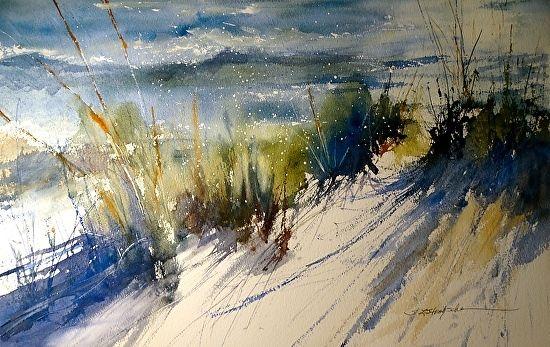 Lake Michigan, October 2014 by Sandy Strohschein Watercolor ~ 15 x 22