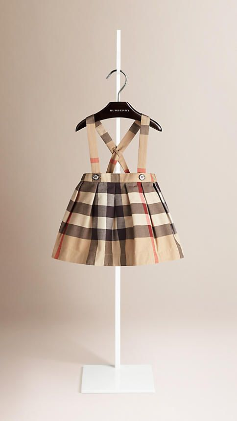 New classic check Check Cotton Skirt with Detachable Straps - Image 1