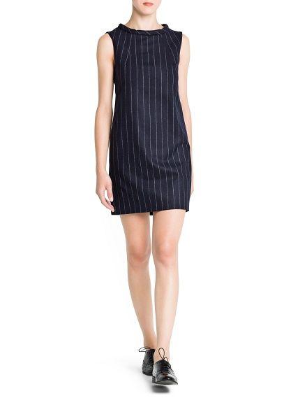 Pinstripe wool-blend dress. Classy.