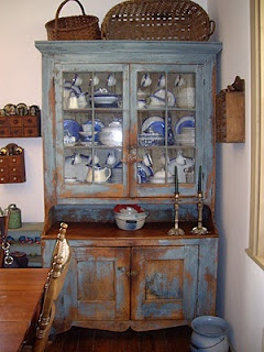 love the flow blue china & cabinet