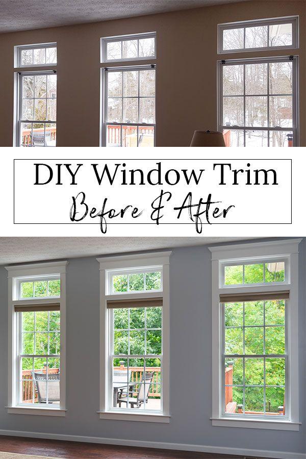 How To Install Diy Farmhouse Window Trim I Ve Installed This Diy Window Molding In My Entire House And Now Diy Window Trim Farm House Living Room Window Trim