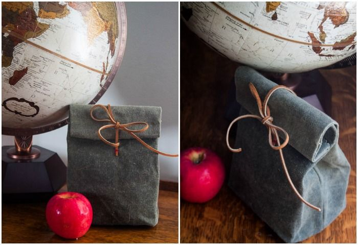 Canvas and Leather Lunch Bag Tutorial