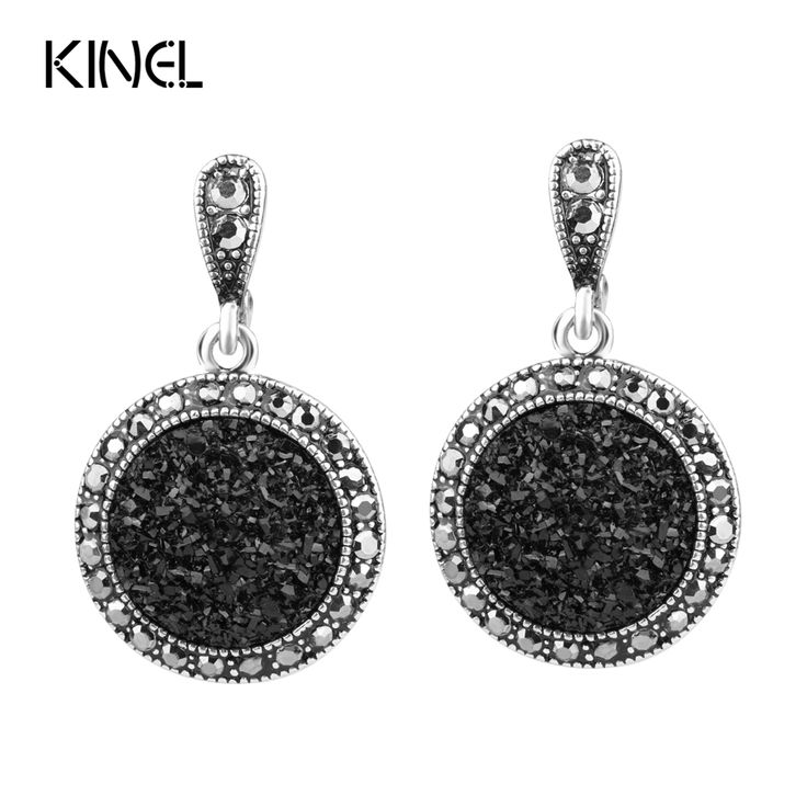 Hot 2016 Fashion Black Broken Stone Accessories Earring For Women Bohemia Silver Plated Jewelry Live To Ride Engagement Earrings