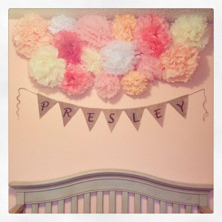 Baby girl nursery tissue balls and burlap banner!