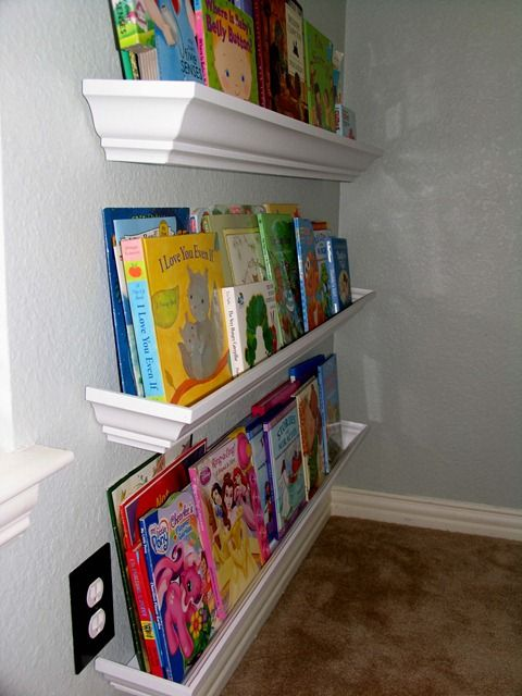 Orig. pinner says:original post says crown molding plus MDF... cost $12 and held 78 books?? Maybe for shelves instead of book shelf... never would have thought of this!! Tried the ikea spice racks but those only hold a few books and fell off the wall one to many times!...good to know because I was going to try the ikea spice racks!