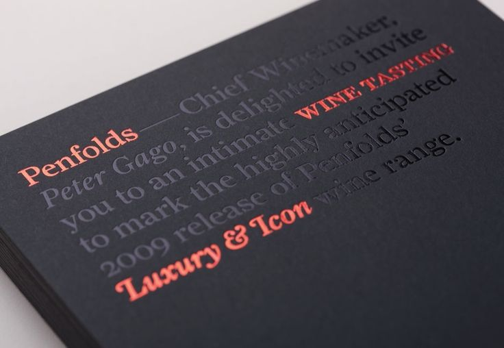 Penfolds Wines Invitation Detail