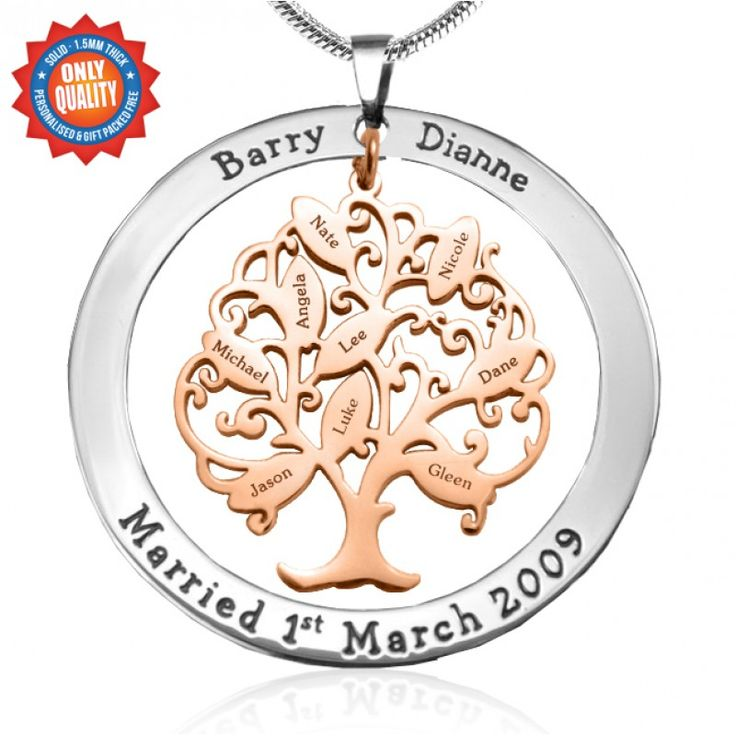A treasured tradition fuses into meaningful fashion with this family tree-style pendant.Personalize with up to 7 names.All our pieces are handcrafted and hand cut from scratch. We use our wn materials Sterling Silver which does not tarnish, is non allergic and has a unique white gold look finish; and 18ct gold which is a top gold alternative out there All pieces are also a solid, strong and thick 1.2mm.