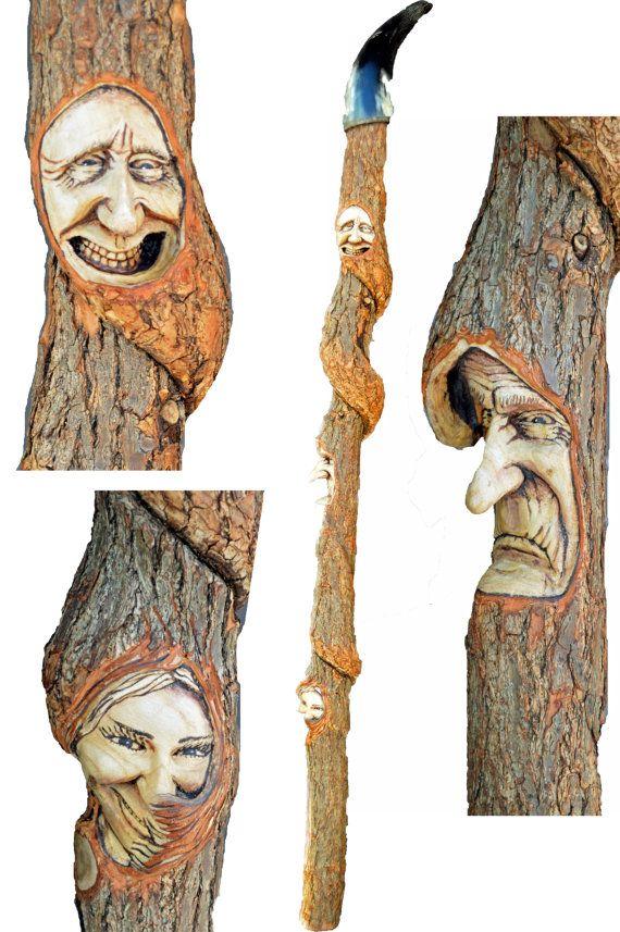 "42"" Walking Stick, Spirit Cane, OOAK, Handmade Woodworking, by Josh Carte, Wood Gift for Grandpa, Woodcarving, Woodland, Handmade in Ohio on Etsy, $850.00"