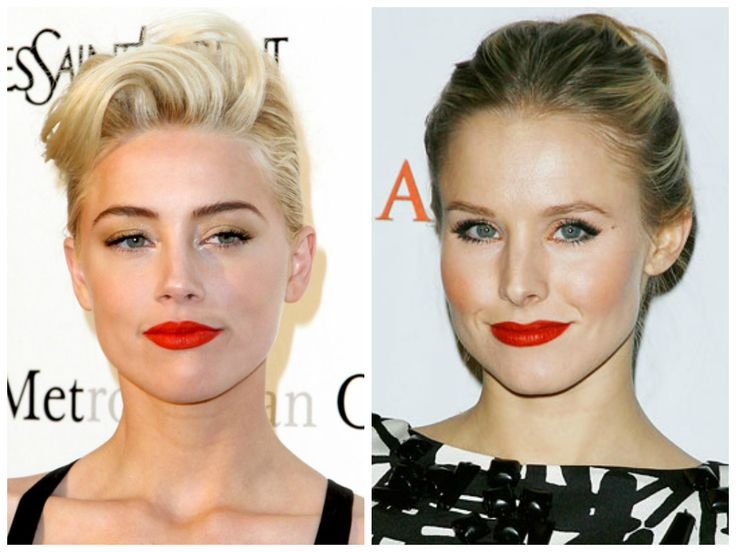 Products we love: Red Lipstick for Blondes with Warm Skin Tones Amber Heard  Kristen Bell