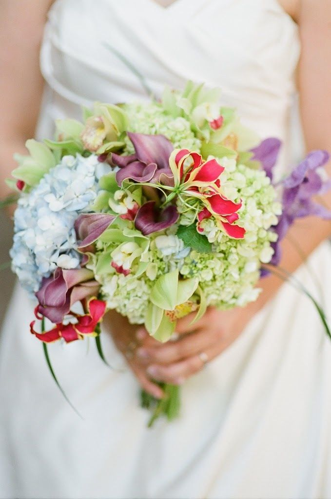 Green Blue Hydrangea, Purple Callas, Green Cymbidium Orchids, Gloriosa Lily wedding bouquet flowers by Southern Event Planners - Memphis Wedding