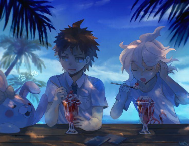 Hajime and Nagito having ice cream on the beach