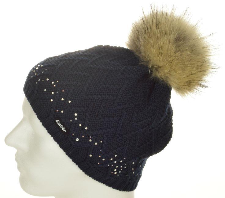 Eisbär Mütze für Damen mit edlen Kristallsteinen!