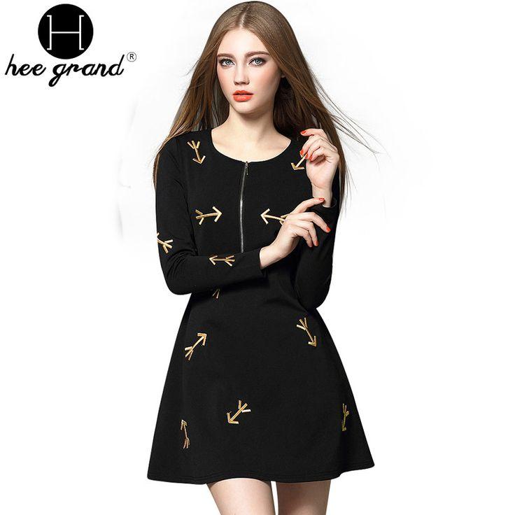 Spring New Fashion Arrow Embroidery Women Dress O-Neck Full Sleeve Empire Waist Vestidos Ball Gown Mini Dresses WQL3487