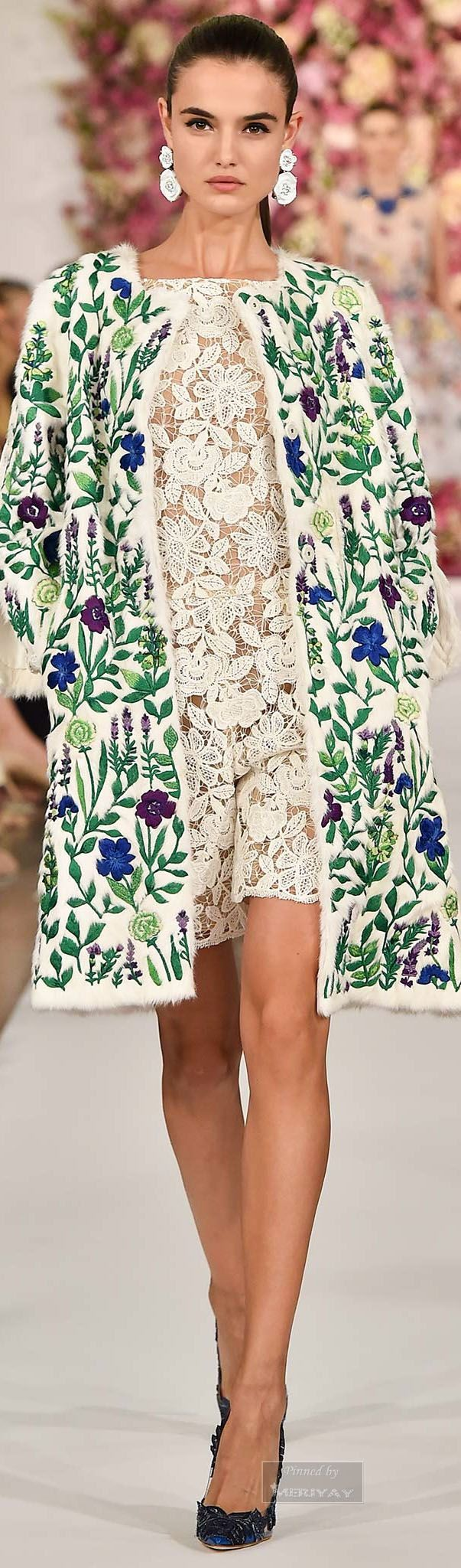 Oscar de la Renta Spring 2015. Floral jacket and dress. Floral earrings to match!