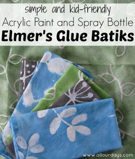 Elmer's Glue Batiks: kid-friendly acrylic paint and spray bottle art project @ AllOurDays.com- Great project for Setacolor Paints!