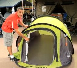 http://www.amazonoutdoors.com.au/shop/p/malamoo-3-second-tent-classic-green  How you goin' it's Daniel from Amazon Outdoors introducing the original Malamoo 3 Second  Tent. They call this the Classic.  It sleeps 2 people, is 2.4 metres long, 1.8 metres wide and a meter high when it's erected. The diameter pack size is 78cm.   Click here for more info and pricing on the Malamoo Classic 3 Second Tent http://www.amazonoutdoors.com.au/shop/p/malamoo-3-second-tent-classic-green