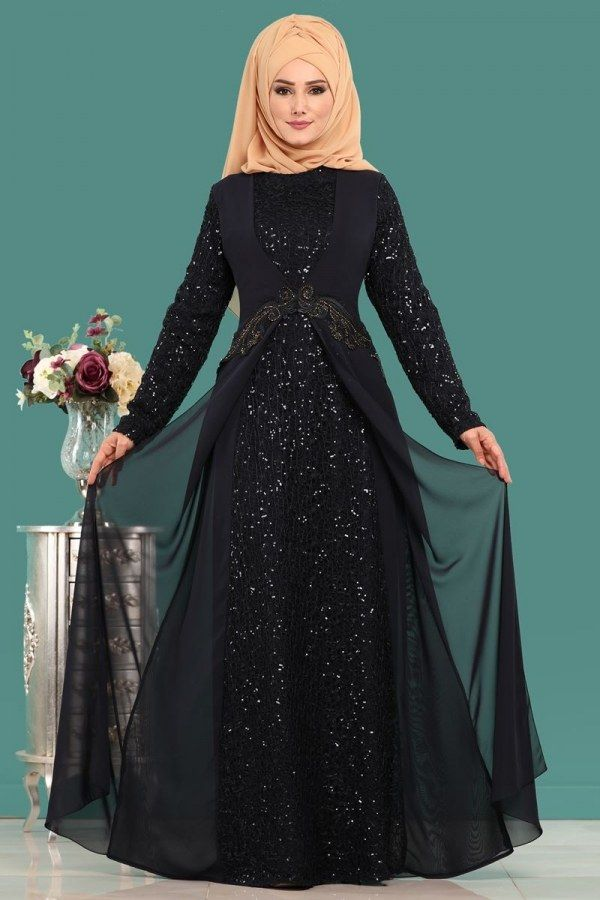 Modaselvim Abiye Sifon Detay Pulpayet Abiye Alm52714 Laci Chiffon Lace Dress Muslimah Fashion Outfits Muslim Fashion Outfits