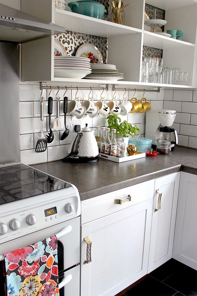 Open shelves (which we are totally tidy enough to have someday) and hanging utensils/mugs...I love it!