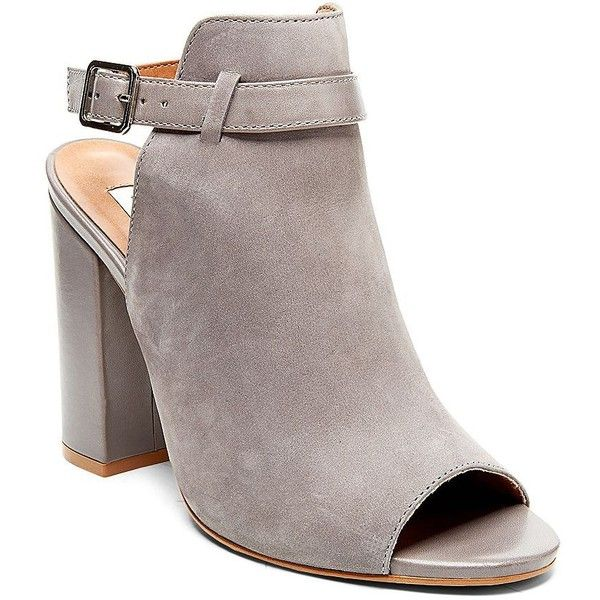 Steve Madden Carnabi Leather Peep-Toe Bootie (425 PEN) ❤ liked on Polyvore
