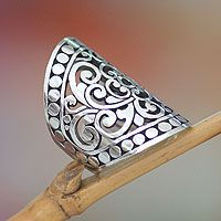 Sterling silver cocktail ring, 'Admiration'