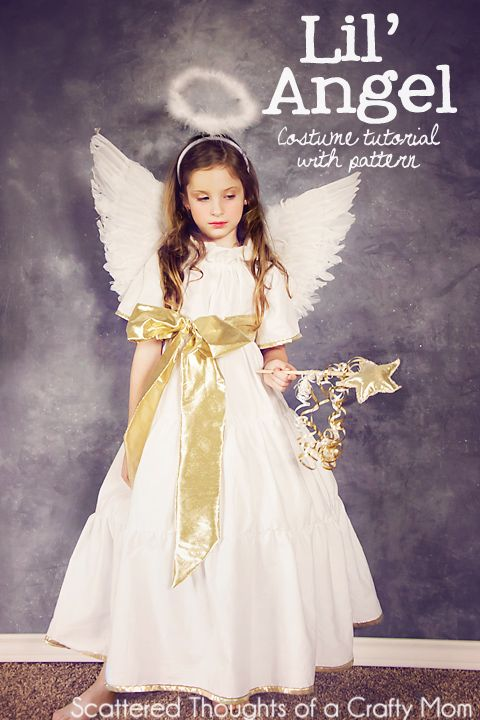 Free dress pattern and tutorial for an Angel costume in sizes 2, 3, 4,5 ,6 and 7.