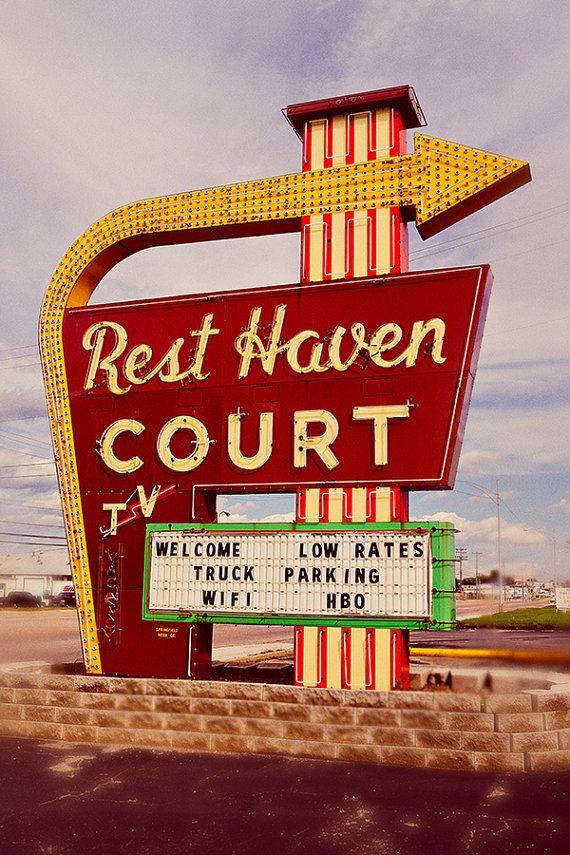 Rest Haven Court Motel - Route 66 - Mid Century Modern Decor - Old Neon Sign - Retro Home Decor - Motel Sign - Fine Art Photography