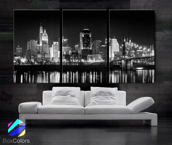 large 30x 60 3 panels art canvas print cincinnati skyline night light downtown - Home Decor Cincinnati