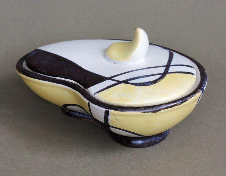 bay keramik 50er jahre dekor florenz kleine deckeldose nierenform 50s rockabilly