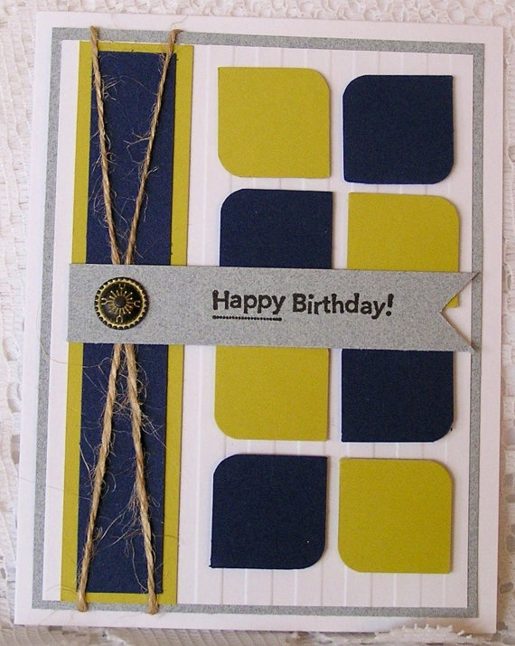 Stampin' up Masculine birthday card by JulieAnnesTreasures on Etsy, $3.50