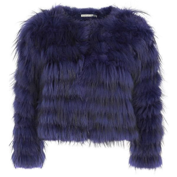 Alice + Olivia Fawn blue fur jacket found on Polyvore featuring outerwear, jackets, fur jacket, blue fur jacket, blue jackets and alice olivia jacket