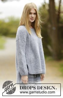 """Sigrid - Knitted DROPS jumper with false raglan, vent and textured pattern on shoulders and sleeves in """"Air"""". Size: S - XXXL. - Free pattern by DROPS Design"""