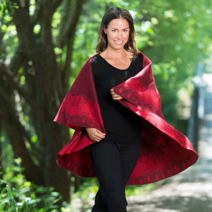 Wool Blend Red / Black Poncho http://www.creswickwool.com/wool-blend-red-black-poncho.html