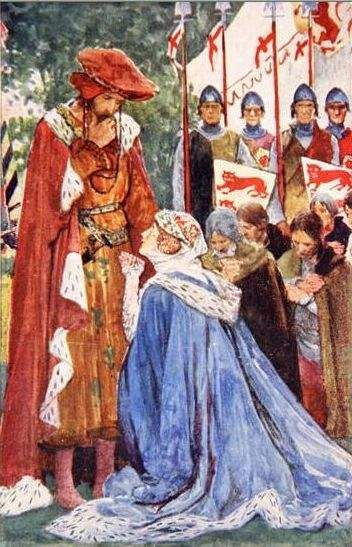 Queen Philippa of Hainault begging her husband, Edward III to spare ...
