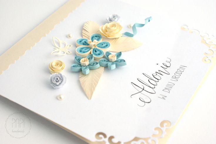 Ażur i perłowo-złoty papier   Kartki ręcznie robione, zaproszenia ślubne handmade Poznań