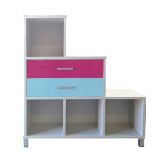 UBRAN Staggered 6 Cube (Snowdrift White), Double Drawers Top (Pink Gloss), Bottom (Sky Blue Gloss)