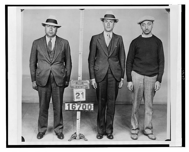 [New York City Police Department photograph of (l to r) Waxie Gordon, Hymie Pincus, and Albert Aront]