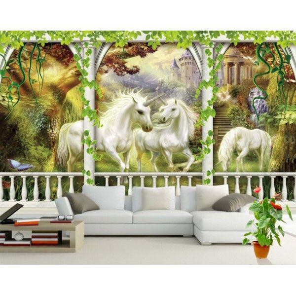 papier peint 3D féerique les licornes dans le jardin