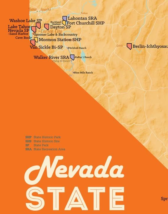 nevada state parks map Nevada State Parks Map 11x14 Print Nevada State State Parks Nevada nevada state parks map
