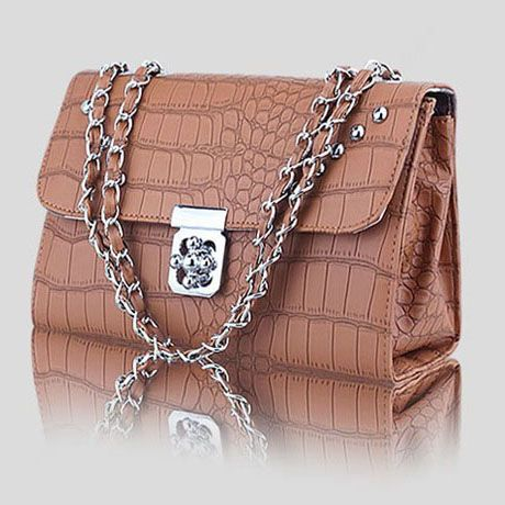 Faux Leather Reptile Embossed Hasp Chains Shoulder Bag