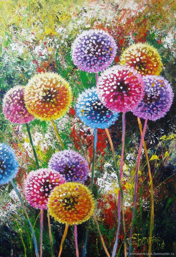 Dandelion flower art Original acrylic painting summer landscape – shop online on Livemaster with shipping – F1S5BCOM | Petrozavodsk
