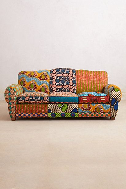 Crazy, yes... but... kind of magical. Frnaco Dutch Wax Sofa from Anthropologie