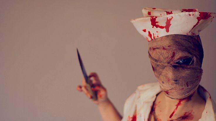 Makeup tutorial, Silent Hill Nurse, horror look, blood, knife, halloween costume, diy, easy, idea