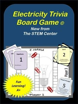 Electricity Trivia Board Game: This board game focuses on the science surrounding Electricity:* Static Charge* Ion* Conductors* Insulators* Electric discharge* Current* Circuit* Voltage* Ohm's Law* Series Circuit* Parallel Circuit* electrical power* P=IV* Voltage* Magnetic Field* Magnetic Domain* North Pole* Magnetosphere* electromagnet* motor* Aurora* Generator* Alternating current* Direct Current* Transformer* Magnetic Field* Electronic signal* Analog* Digital* Semiconductor* Diode* The…