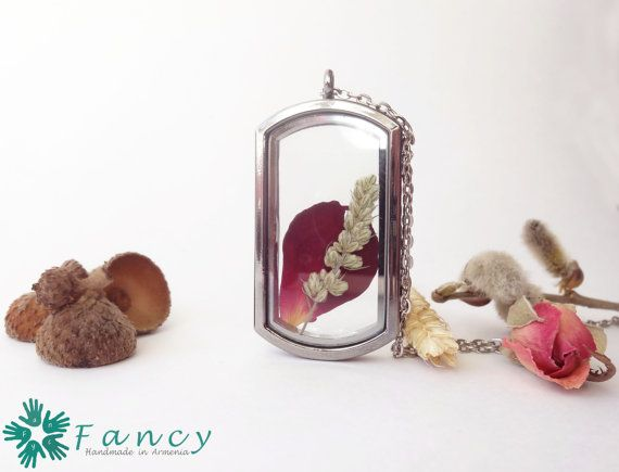 Real flower floating locket  living locket by FancyHandmadeArmenia